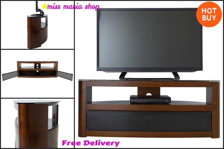 Walnut Corner TV Stand Cabinet Tele Furniture Entretainment Unit Table Wooden