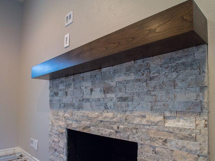 wood modern beam fireplace mantel | Custom Made Cherry ...