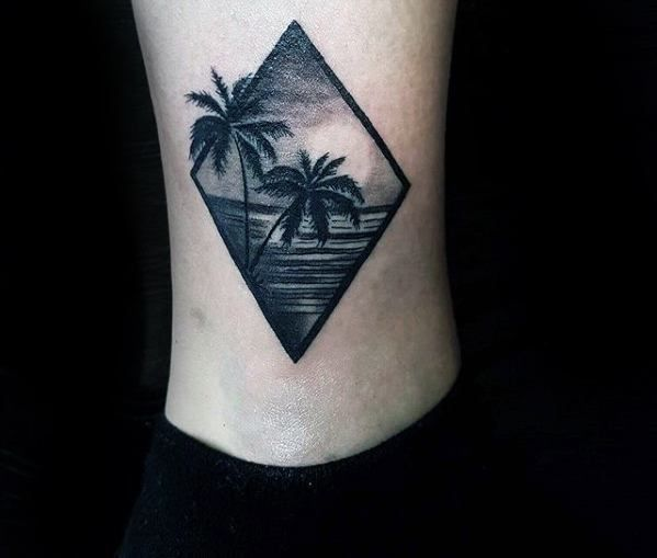 Nice Tattoo Trends Amazing Realistic Palm Trees Beach Ocean Mens Ankle Tattoo Designs Small Tattoos For Guys Tattoos For Guys Small Tattoos