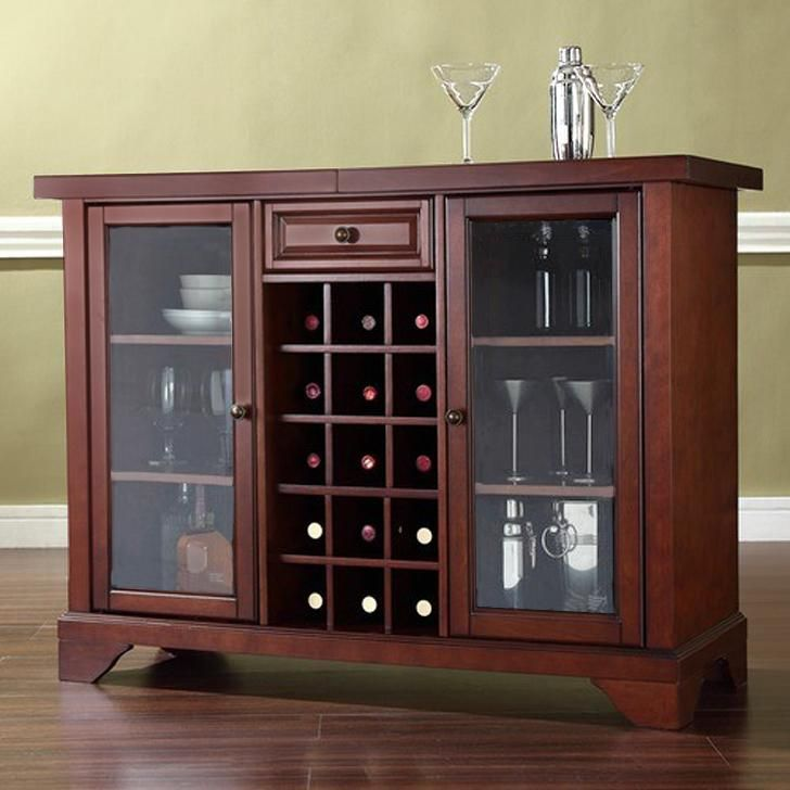 Clark Bar Cabinet With Top Extension Honey from Wood Dekor.