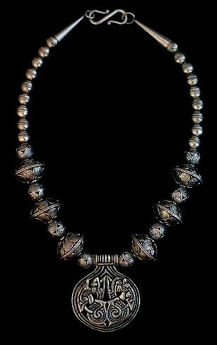 Vårby Necklace - Hand-crafted filigree  saucer beads  replicated to match archeological finds. Vårby Hoard Pendant, 9th Century Vårby, Sweden