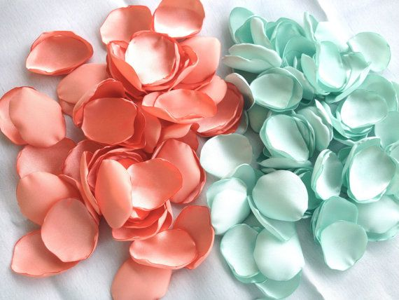 100-1000 rose petals, handmade peach and mint wedding rose petals, custom colors, artificial satin flower petals on Etsy, $19.50