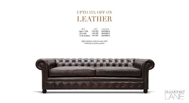 Discount Offer on Leather Products! Valid through 4-6th November'15 Avail exciting discounts on purchase... Buy them now at http://www.gulmoharlane.com/categories/leather-sofas