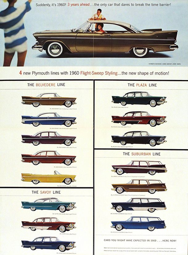 American sales brochure for Plymouth automobiles