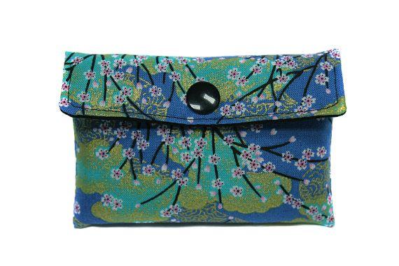 porte-cartes en tissu japonais bleu turquoise
