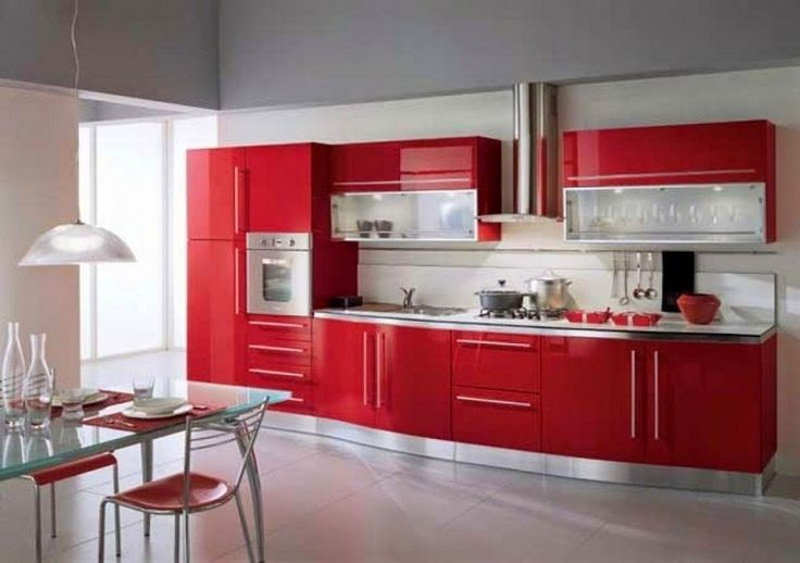 Kitchen Interior Design with Red