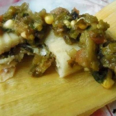 Roasted Cactus Salsa & Cheese Tamales HispanicKitchen.com