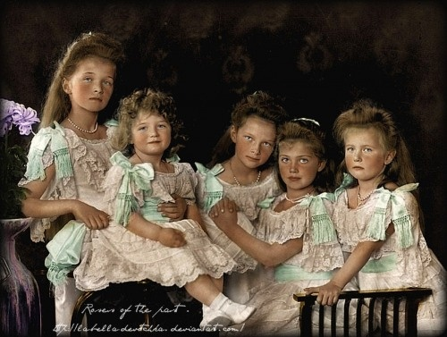 The Romanov Children in 1906 (colorized): Tsar Nicholas II and Tsarina Alexandra had four daughters and one son. (L-R) The Grand Duchess Olga (b.1895), Tsarevich Alexei (b.1904), Grand Duchesses Tatiana (b.1897), Maria (b.1899) and Anastasia (b.1901) Romanov. They were the last Imperial children of Russia. They were murdered with their parents 12 years after this photo was taken, in 1918.