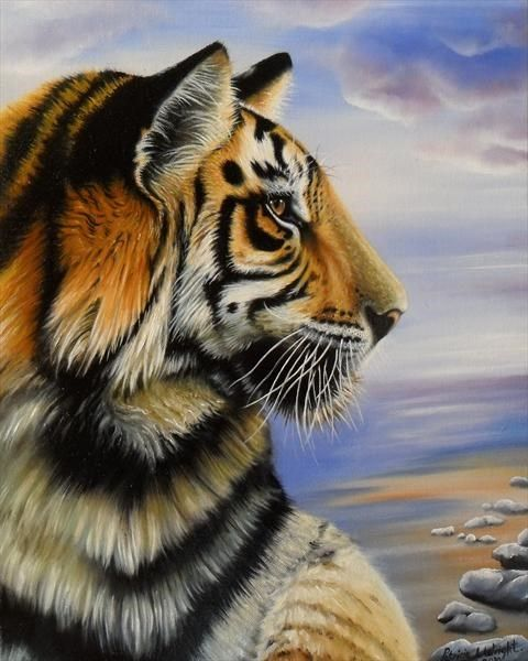Side view of tigers head and shoulders in blue sky - Tiger by Patricia L. Wright #oil #art #painting