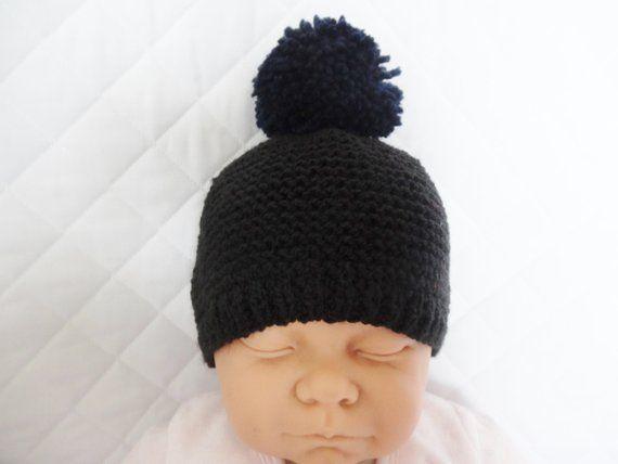 2a7334e9a87 bonnet en laine noire pour bébé de 0 1 mois