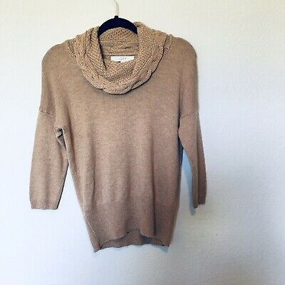 Details about LOFT Womens Sweaters Size Small Cowl Neck Long Sleeve Pullover Beige