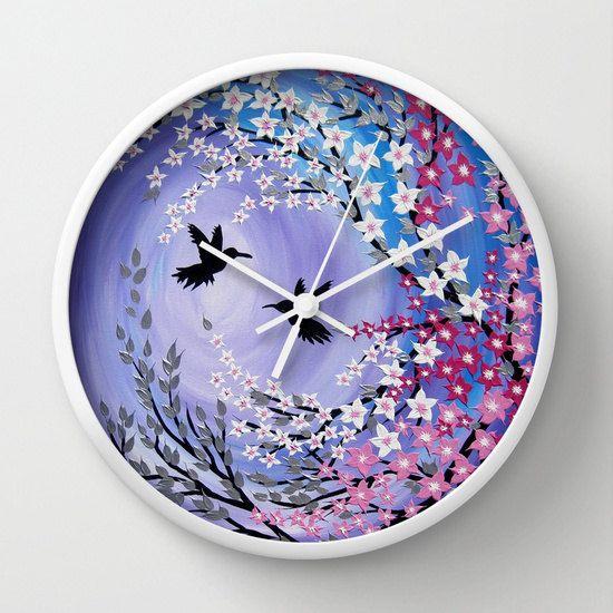 purple clock purple clocks nursery clock nursery by SuchFlair