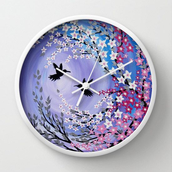 purple clock purple clocks nursery clock nursery by SuchFlair