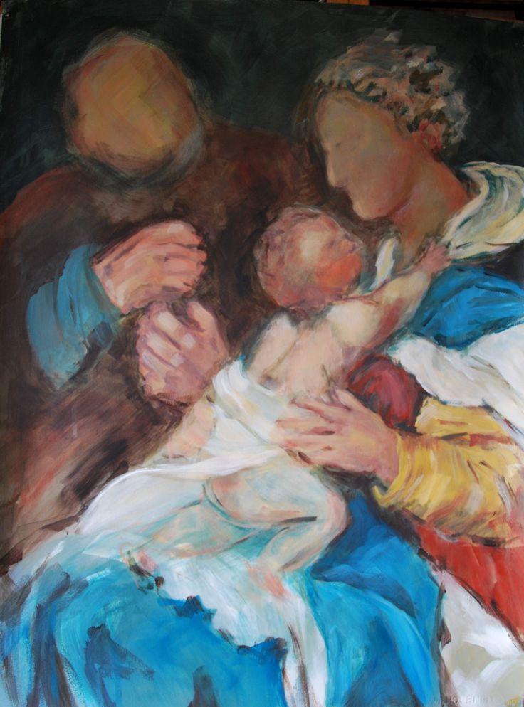 Geabstraheerde versie van schilderij van Rafaël, acryl op papier 55x75, 2013, Marjo Holtland