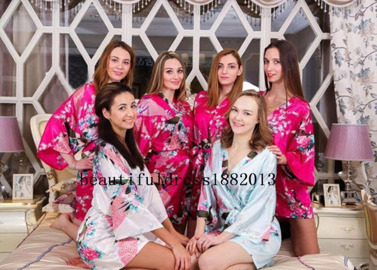 Women Robe Bridesmaid Set  Gowns And Bride Wedding Party Robes Satin Dress