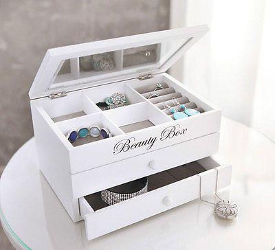 """Schmuckkästchen """"Beauty Box"""" Holz Schmuckbox Schmuckkasten Schmuckkoffer weiß"""