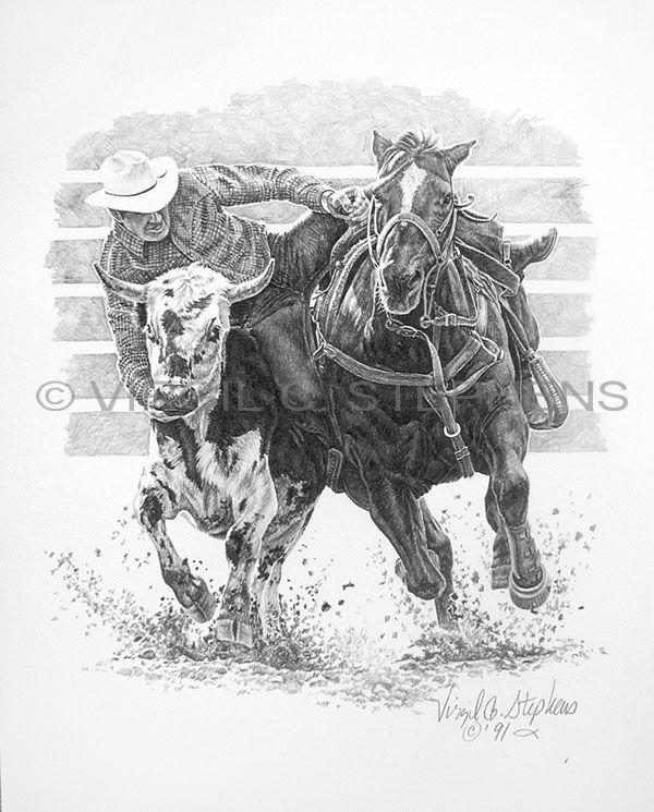 Steer Wrestling Rodeo Event Art By Virgil C Stephens