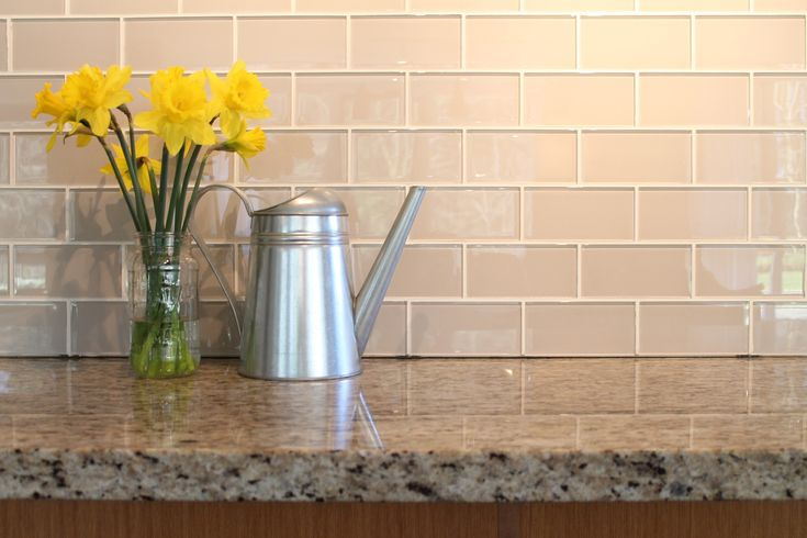 Country Cottage light taupe glass subway tile backsplash via Kitchen Update Wishlist - Northern Belle Diaries