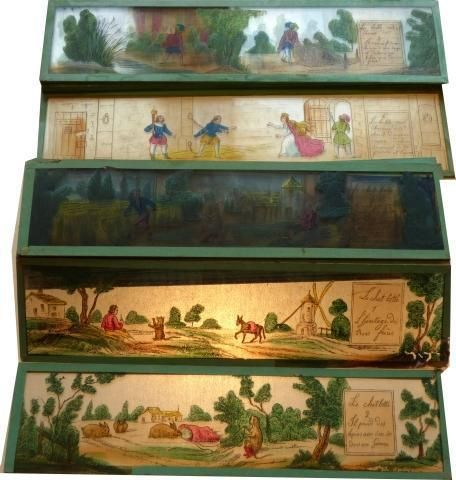 Lot de plaques diverses de lanterne magique, en verre, A motifs imprimés,