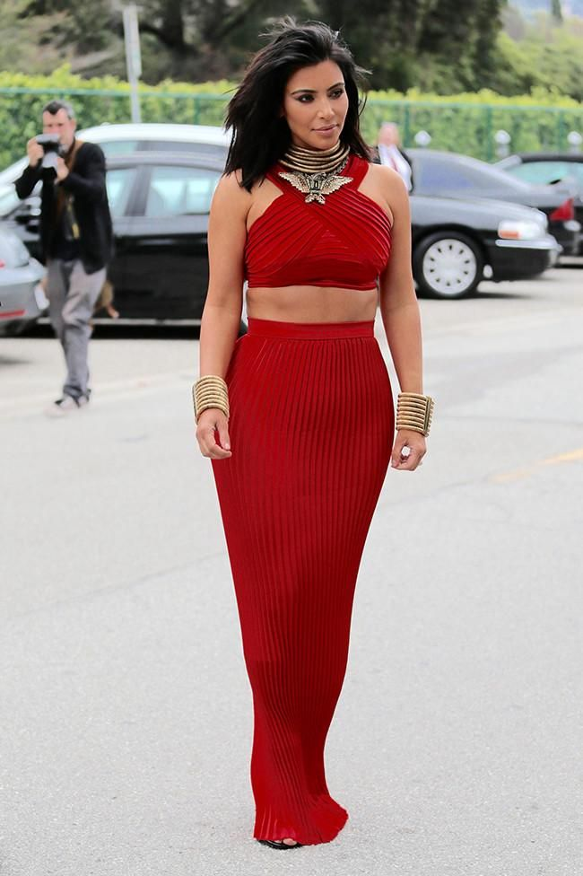 Kim Kardashian Red Two Piece Dress