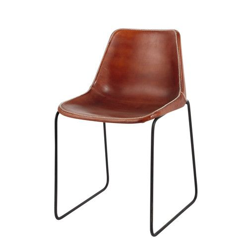 Leather and metal industrial chair in camel