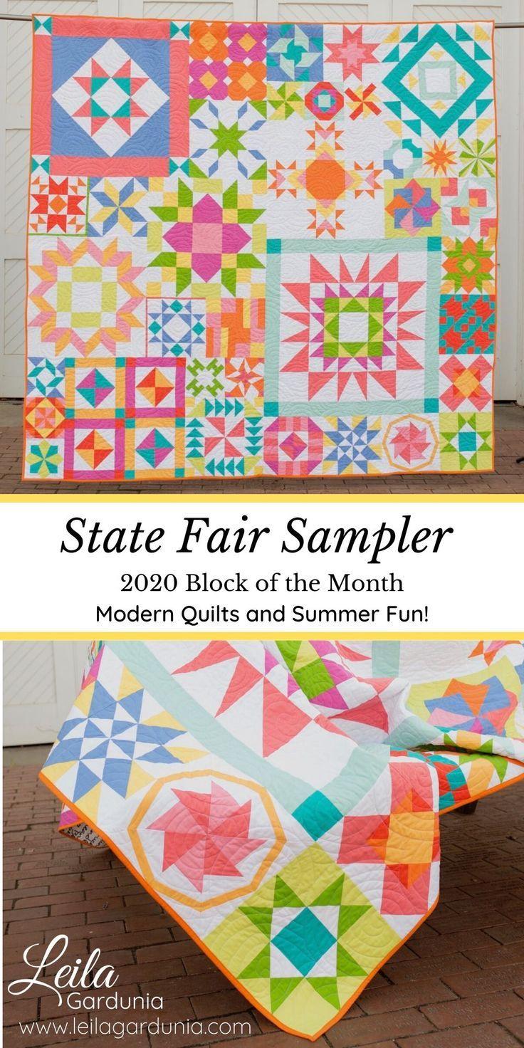 2020 Block Of The Month State Fair Sampler Leila Gardunia In 2020 Sampler Quilts Quilts Sampler Quilt