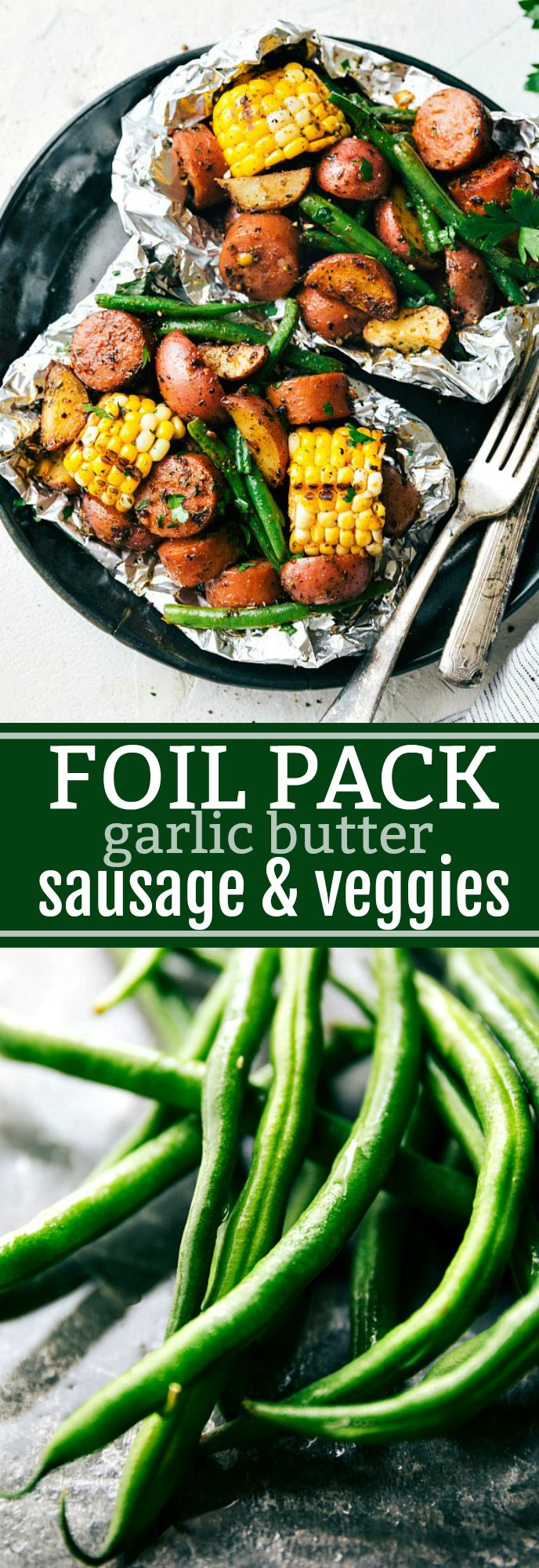 Foil Pack Sausage and Veggies! Easy Tin Foil Pack Garlic Butter Sausage and Veggies. A delicious meal that takes 15 minutes prep time or less! via chelseasmessyapron.com<img src=