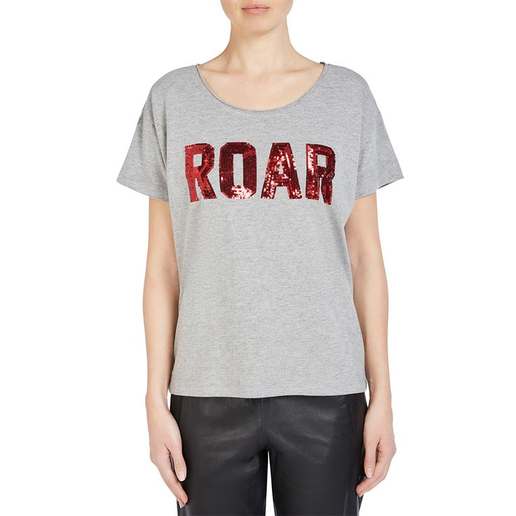 We love this style! Single jersey T-shirt with lettering in red sequins, made of high-quality cotton-viscose blend in grey melange. Features slightly oversized shoulders and neck hole with cut edges for a casual cool look. Relaxed fit.  85% cotton 15% viscose Relaxed shirt Length: 62 cm