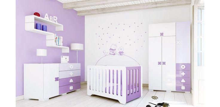 Habitación para bebés purple y lila de Alondra, serie Maths, divertida combinación de colores.