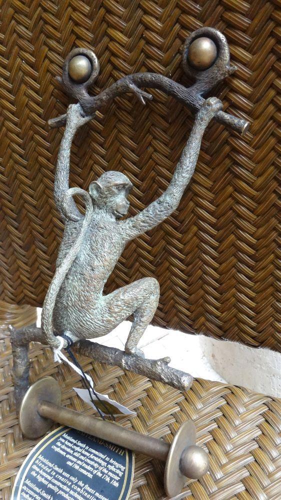 Monkey Toilet Tissue Holder  Brass And Bronze Bath Accessory