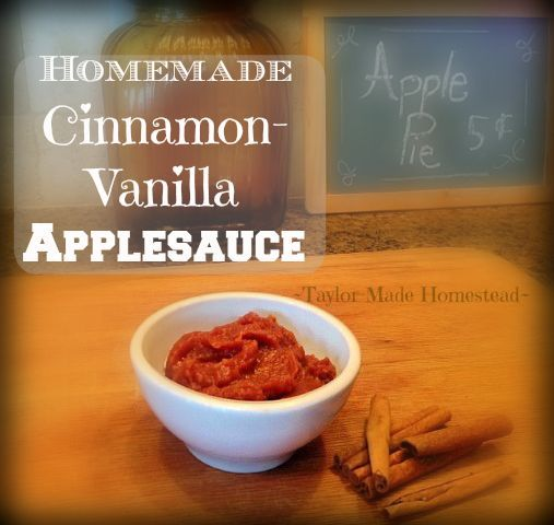HOMEMADE APPLESAUCE is super easy, and I've made some of it into extra-special Cinnamon-Vanilla Applesauce. I've canned it to enjoy all winter #TaylorMadeRanch: