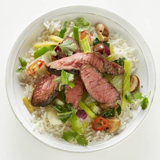 Biefstuk met oosterse wokgroenten