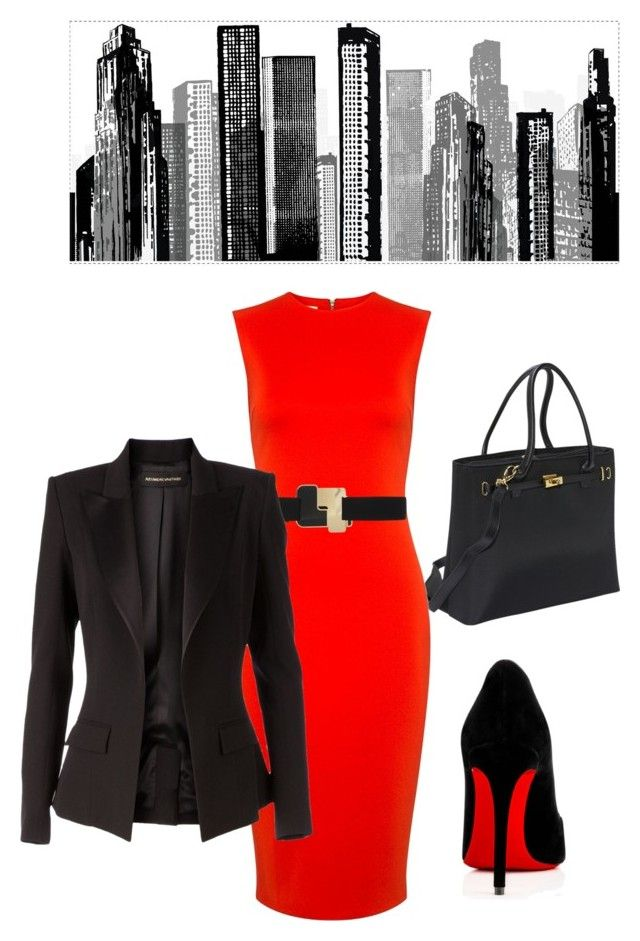 """Business Dress Red/Black"" by hisprincess2017 on Polyvore featuring RoomMates Decor, Women In Business, McQ by Alexander McQueen, Alexandre Vauthier and Christian Louboutin"