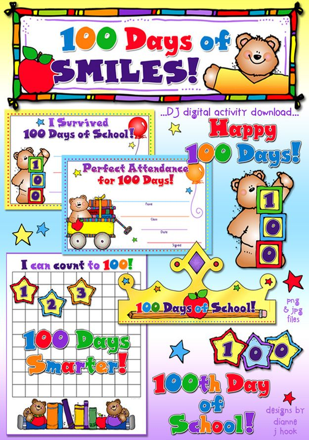 Ready for the 100th day of School???  Counting the days of school has never been so much fun!  You'll LOVE DJ's '100 Days of SMILES' activity download for fun with counting & celebrating your school!  Kit includes:  2 award certificates, 1 crown template, star numbers 0-9, a count to 100 chart (blank or with #'s) and 7 coordinating clip art designs!