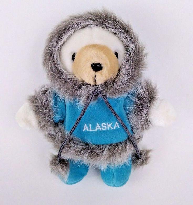 "Alaska Artic Circle Polar Bear Plush White Blue Parka 9"" Brown Nose Stuffed #ArticCircle"