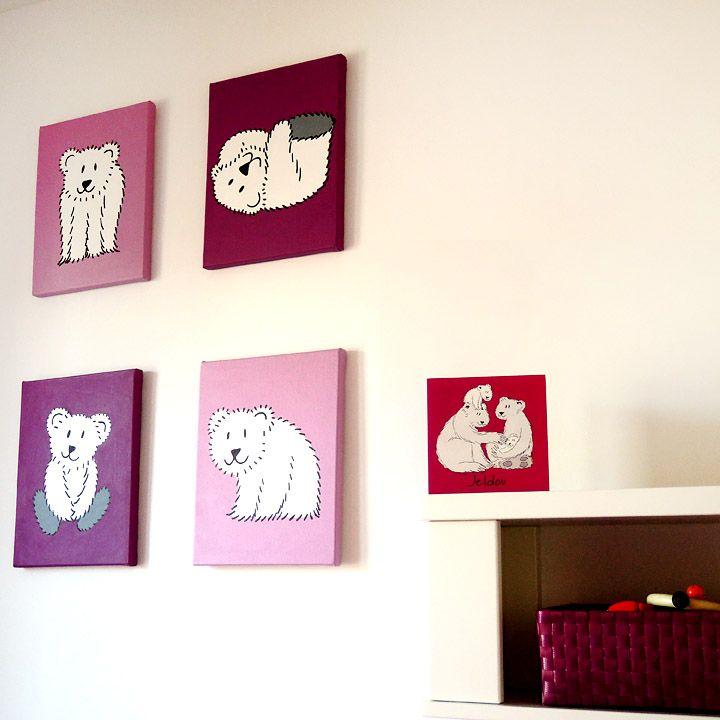 Serie schilderijen voor de babykamer, passend bij het geboortekaartje!