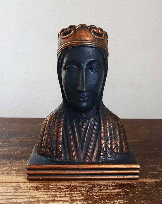 黒いマリア 聖母像 胸像 モンセラ修道院 スペイン カトリック 宗教彫刻 1940年代 ヴィンテージ アンティーク/599