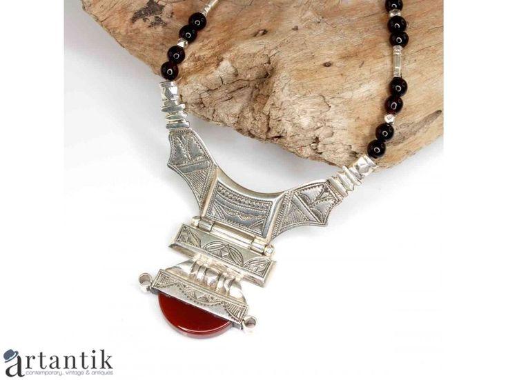Colier statement tuareg - Houmane - argint, carneol & granate - bijuterii statement