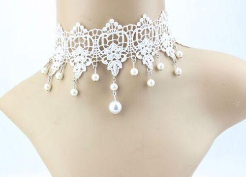 Vintage-Stil-Braut-Weiss-Spitze-Perlen-Gothic-False-Kragen-Halsband-N329