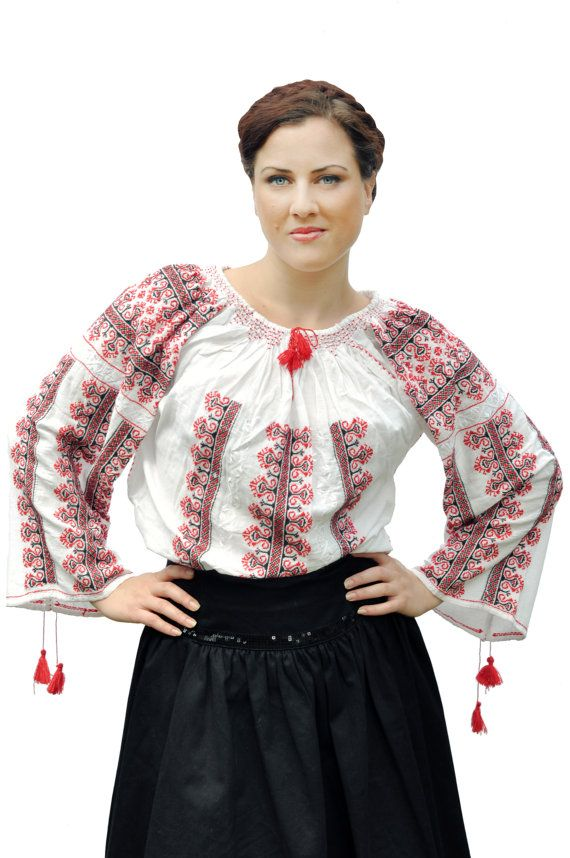 Traditional romanian blouse with red and black embrodery on Etsy, $125.00