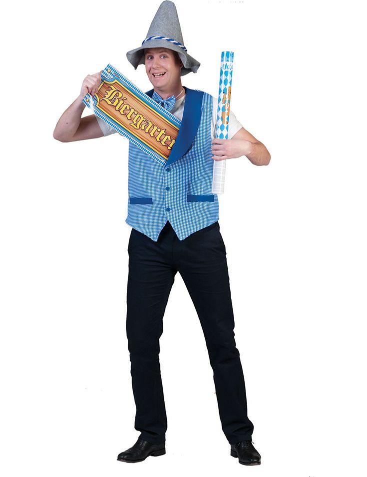 Bayerische Weste: Diese Weste im Bayerischen Stil ist ärmellos und mit dem blau-weiß karierten Muster der Bayerischen Flagge bedruckt (die Accessoires, der Hut, die Hose und Schuhe sind nicht im...