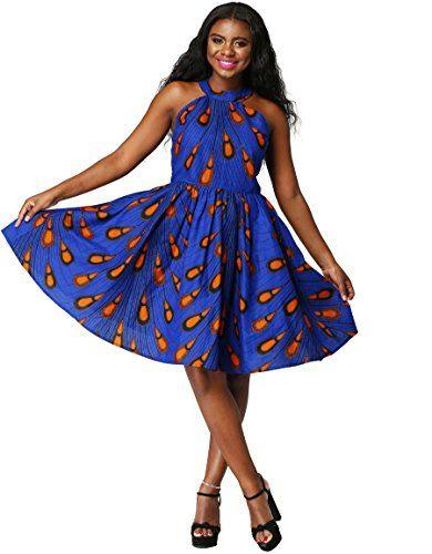 SALE PRICE -  34.88 - Shenbolen Women African Ankara Batik Print  Traditional Clothing Casual Party Dress d1b9ca96d84d
