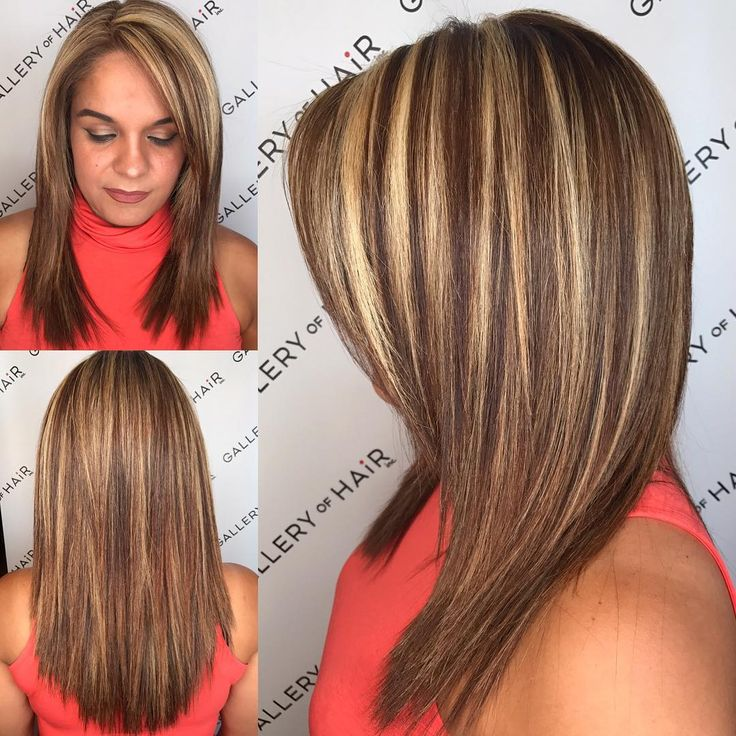 This Layered Cut with Textured Ends-and Bold Chunky Highlights is a great look for someone seeking a classic feminine style with a bold twist, using color and chunky highlights. This medium length layered cut can be worn sleek and straight, with textured waves or curls, or with a simple blowout for body and movement. Styling tips for this layered haircut and other similar long hairstyles, lobs, and color ideas, can be found at Hairstyleology.com