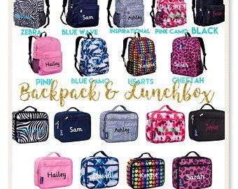 Personalizada mochila y lonchera, regreso a la escuela, los niños mochila, lonchera, mochila con monograma, mochila de niñas, niño mochila