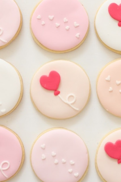 heart-decorated cookies.