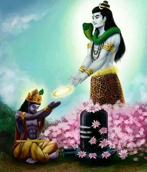 God Shiva granting Sudarshan chakra to Lord Vishnu!