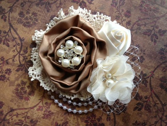Vintage inspired mocha satin ivory lace by lexicouture on Etsy, $15.50