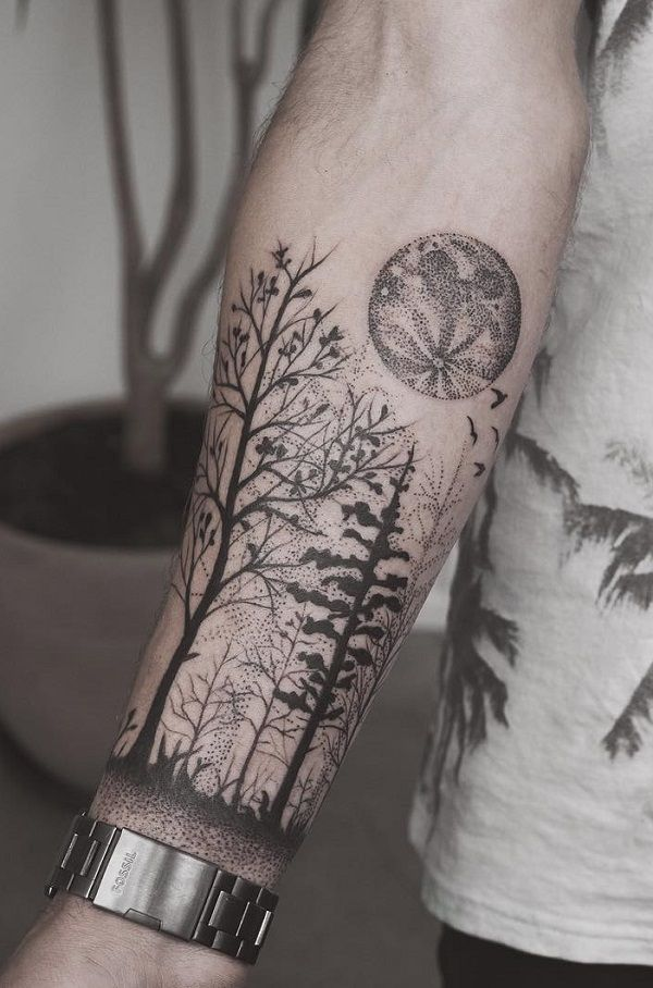 Forest forearm tattoo - 110+ Awesome Forearm Tattoos