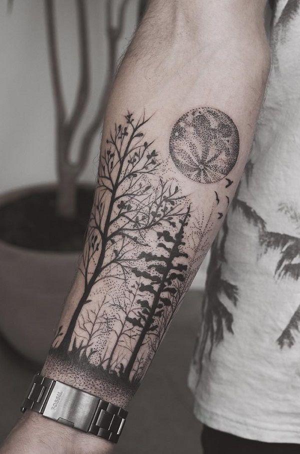 Forest leg tattoo