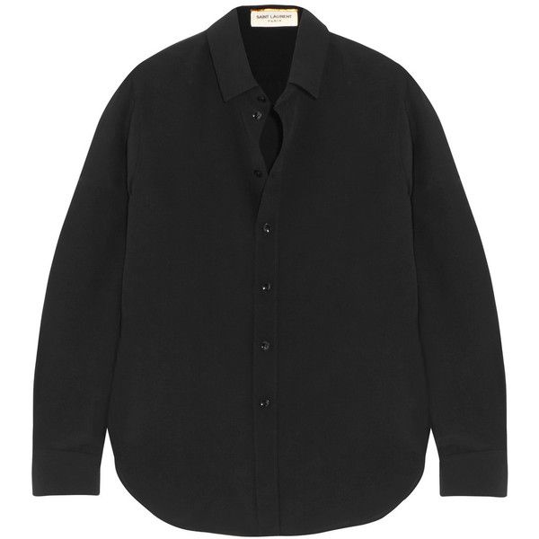 Saint Laurent Silk crepe de chine shirt (55.875 RUB) ❤ liked on Polyvore featuring tops, black, silk top, silk shirt, yves saint laurent, yves saint laurent shirt and rounded hem shirt